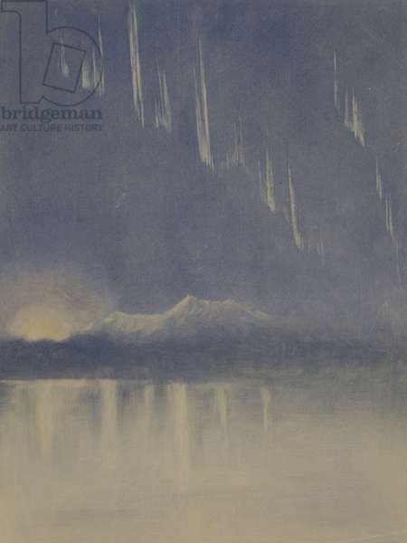 Aurora and sunset seen across McMurdo Sound from Hut Point, Mount Lister in centre, c.1910-13 (w/c on paper)