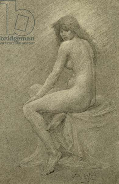 """Study for """"Lilith"""", c.1900 (chalk on paper)"""