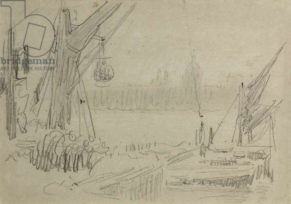 On the Thames, c.1890 (pencil on paper)