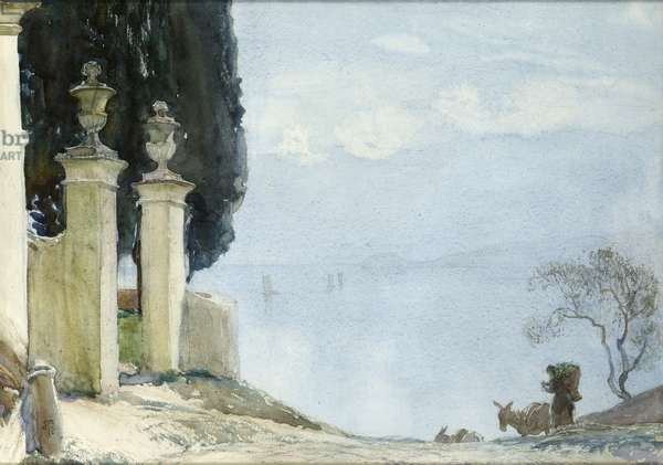 A Blue Day on Como, c.1900 (w/c on paper)