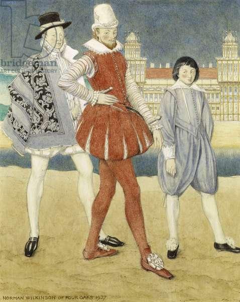 Mercutio and Benvolio -– Romeo & Juliet, 1927 (w/c on paper)