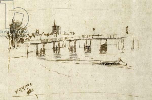 Old Battersea Bridge, c.1890 (pen & ink on paper)