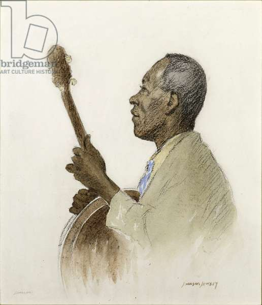 The Banjo Player, c.1920 (w/c on paper)