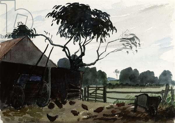 A Farmyard, c.1930 (w/c on paper)