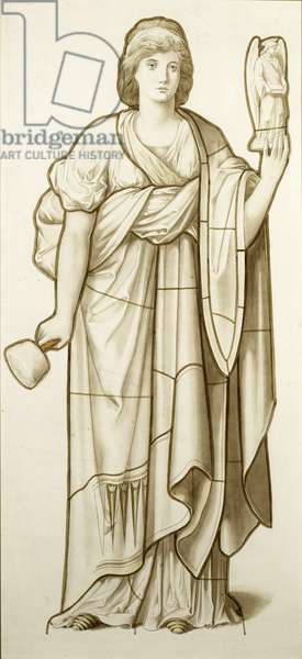 Muse of Sculpture -– Cartoon for Stained Glass, c.1890 (w/c on paper)
