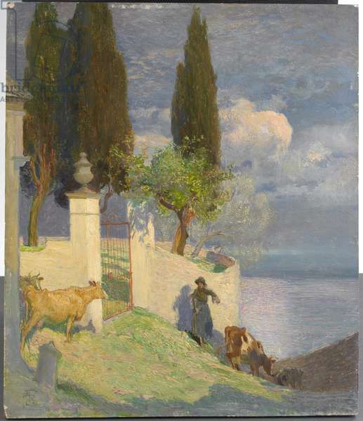 Driving Cattle, Lake Como, c.1900 (oil on panel)