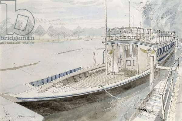 Thames Riverboat, c.1970 (w/c & pen & ink on paper)