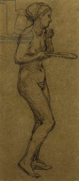 "Study for ""Shuttlecock"", c.1870 (chalk on paper)"