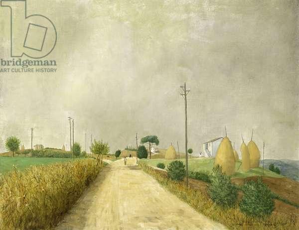 The Road from Recanati to Montefarno, 1954 (oil on board)