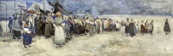The Beach, Berck-sur-Mer, c.1900 (w/c on paper)