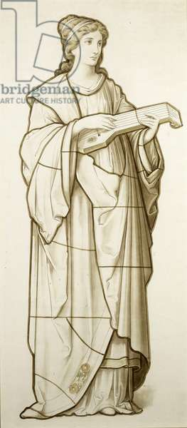 Muse of Music– - Cartoon for Stained Glass, c.1890 (w/c on paper)