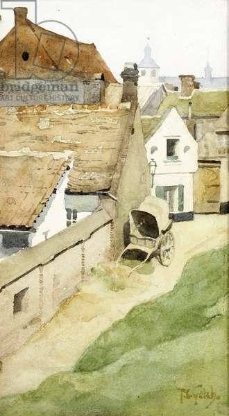 A Village Backstreet, c.1880 (w/c on paper)