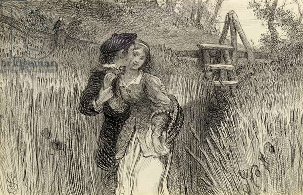 Comin'' Through the Rye, 1870 (pen and ink on paper)