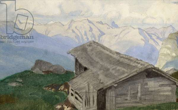 In the Alps, c.1920 (w/c on paper)