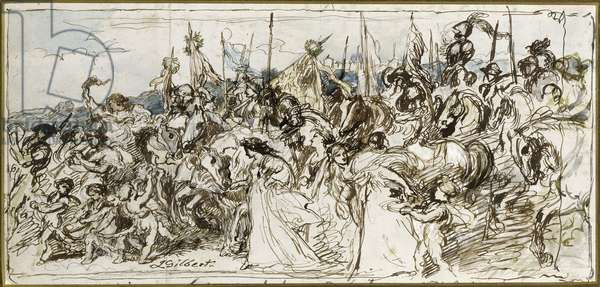 """Sketch for """"'The Return of the Victors'"""", 1879 (pen and ink and w/c)"""