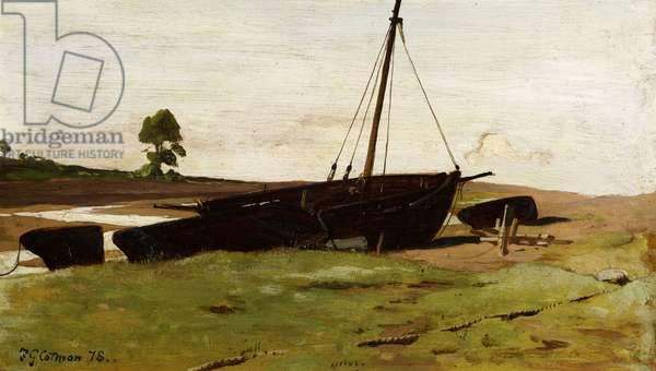 Stranded Boats, Porlock Weir, 1879 (oil on panel)
