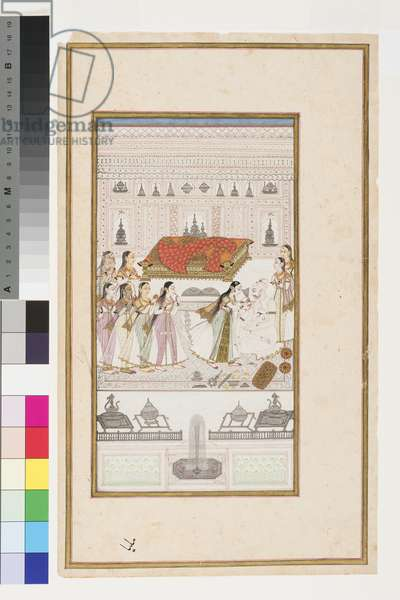 Manohar collapses into his father's arms, c.1710 (opaque w/c, silver and gold on paper, mounted on an album page)