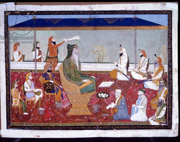 Ranjit Singh on his golden throne, c.1830 (opaque w/c & gold on paper)
