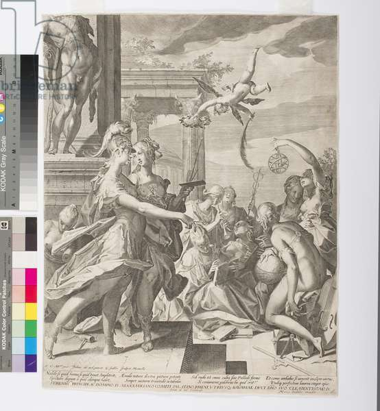 Athena Introduces Painting Among the Muses, c.1603 (etching & engraving)
