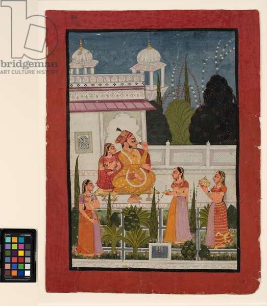 A raja on a terrace with his rani, attended by three women, late 18th century  (opaque w/c on paper)