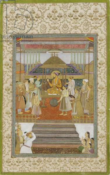 The Emperor Shah Jahan on the 'Peacock Throne', 1640 (opaque w/c & gold on paper)