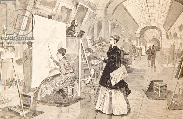 Art –Students and Copyists in the Louvre Gallery, Paris, January 11, 1868 (engraving)