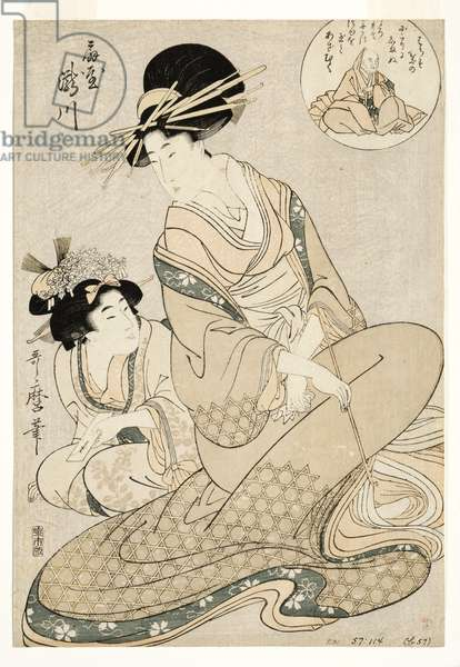 The courtesan Takigawa and her attendant from the Ogiya in allusion to the poet, 1800-02 (woodblock)