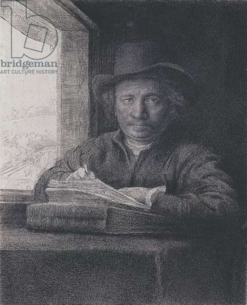 Self-portrait, Etching at a Window, 1648 (etching & engraving on laid paper)