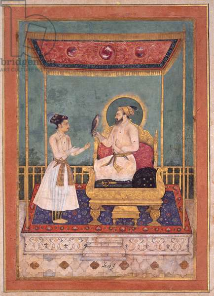 Shah Jahan Enthroned with his Son Dara Shikoh, c. 1630-1640 (opaque w/c & gold on paper)
