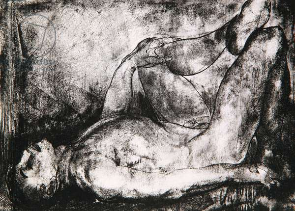 Man on His Back, Nude, c.1916 (litho)