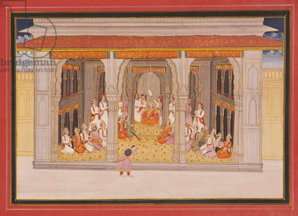 A king in durbar in a pavilion, 1760 (opaque w/c & gold on paper)