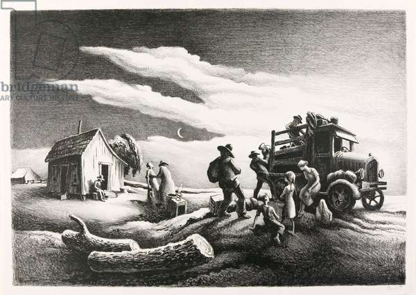 Departure of the Joads, 1939 (litho)