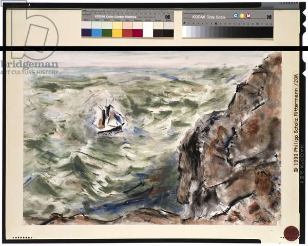 Cape Split and Boat, 1941 (w/c on paper)
