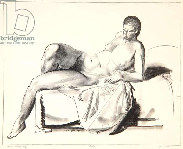 Nude Study, Classic on a Couch, 1923-24 (litho)