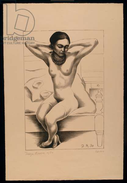 Seated Nude with Raised Arms (Frida Kahlo), 1930 (litho)