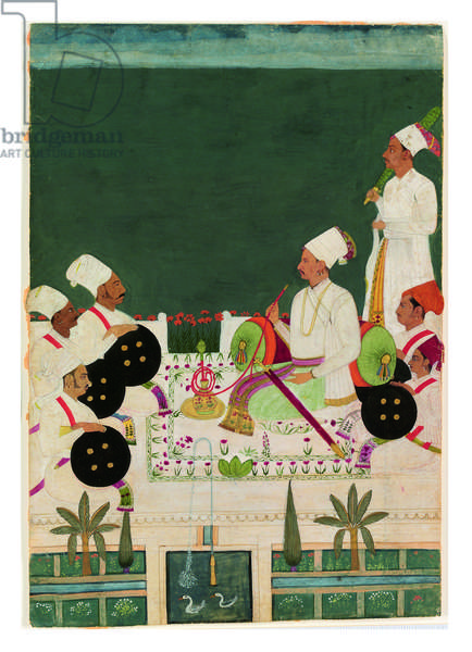 A Rathore Chief with His Kinsmen, c.1700 (opaque w/c & gold on paper)