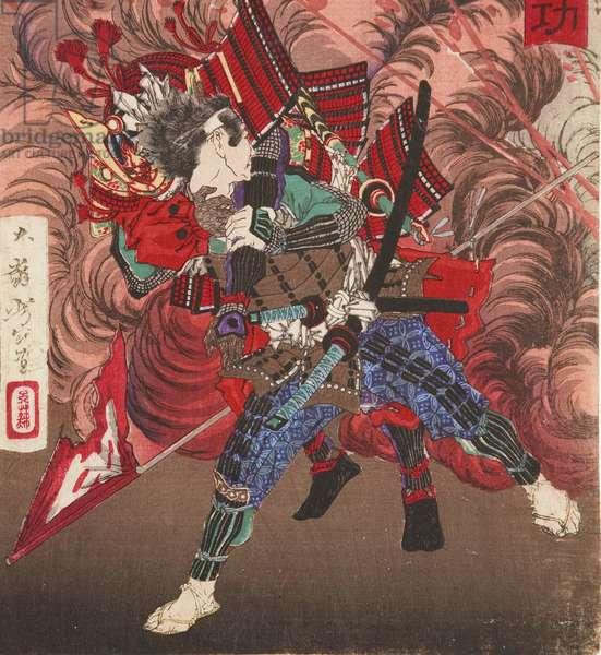 Okubo Hikozaemon rescuing Tokugawa Ieyasu on the battlefield, 1881 (woodblock)