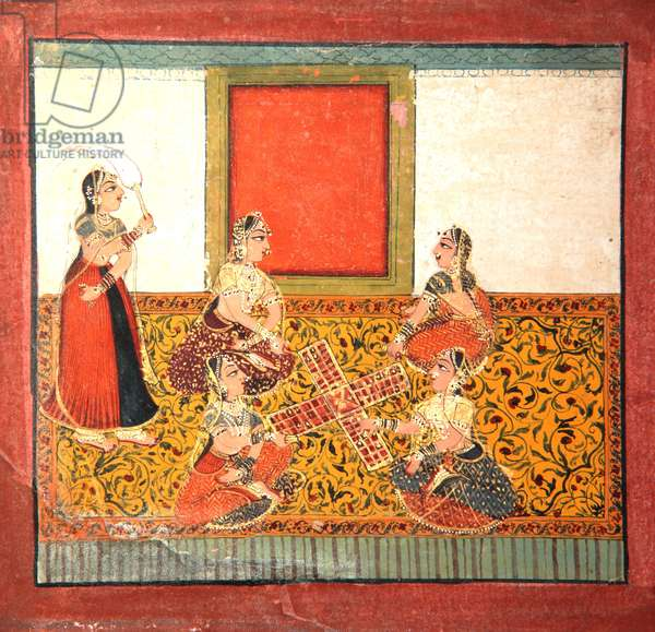 Women playing Parcheesi, seated on a yellow patterned floor spread, c.1725 (opaque w/c & gold on paper)