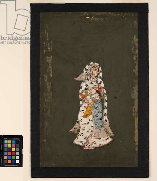 A standing woman in floral patterned white sari, a peacock-plume patterned cloak, 18th century (opaque w/c on paper)