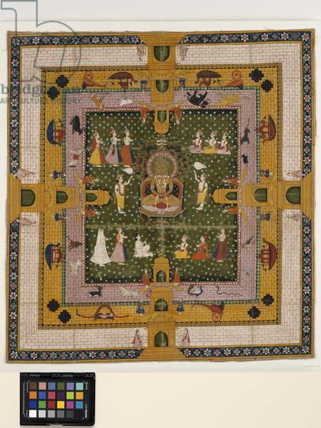 A Jina Enthroned, 19th century  (opaque pigments on cloth)