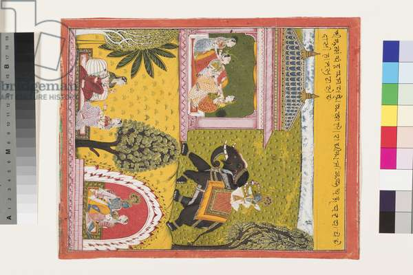 Krishna comes to the lovesick Radha, c.1700 (opaque w/c & gold on paper)