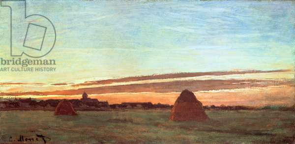 Haystacks at Chailly, 1865 (oil on canvas)