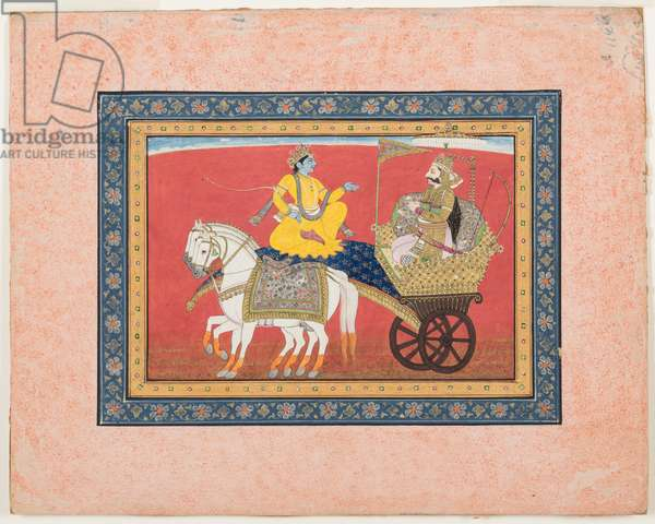 Dialogue between Krishna and Arjuna on the battlefield of Kurukshetra, c.1820 (opaque watercolour and gold on paper)