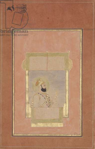 Farrukh Siyyar seated at a window, holding a gold sarpech, c.1715 (opaque w/c & gold on paper)