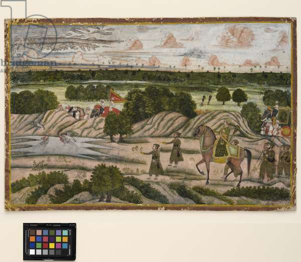 A Nawab and his retainers on a hunting expedition, c.1780  (opaque w/c and gold on paper)
