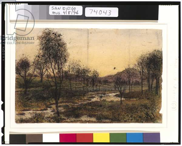 Trees, Hills and Stream, 1901-15 (w/c on paper)