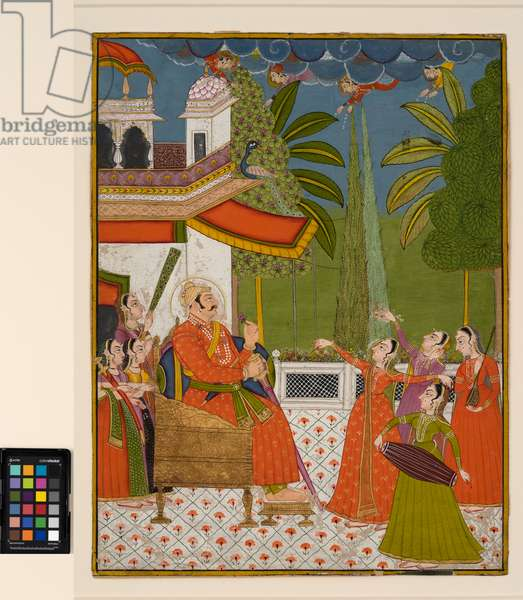 A raja on a throne being entertained by dancers and musicians, c.1775  (opaque w/c on paper)