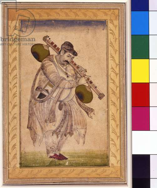 Naubat Khan, the vina player, 18th century (opaque watercolour & gold on paper, mounted on an album page)