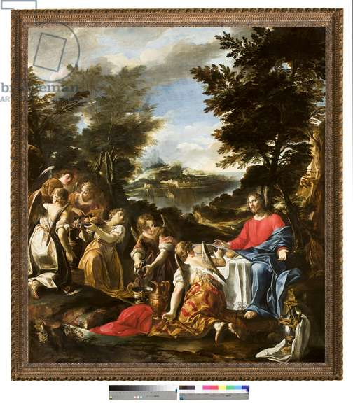 Christ Served by Angels, c.1650-1700 (oil on canvas)