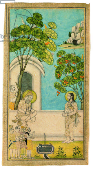 One Holy Man Comes Visiting Another, 1700-25 (opaque w/c & gold on paper)